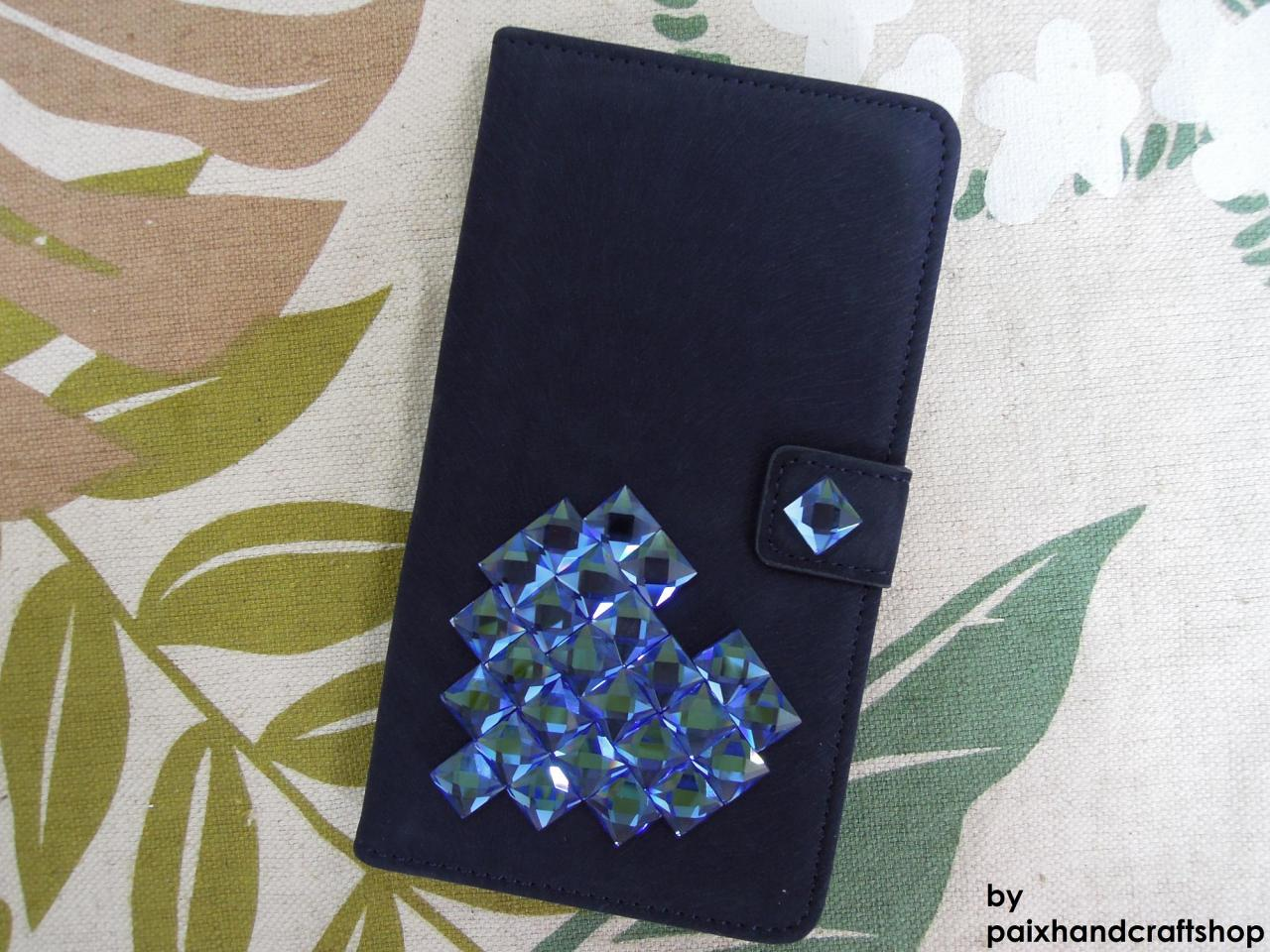 Samsung Galaxy Note 3 Wallet Case-Heart(Stone) studded Navy Samsung Galaxy Note 3 Wallet Case-Credit Card Holder