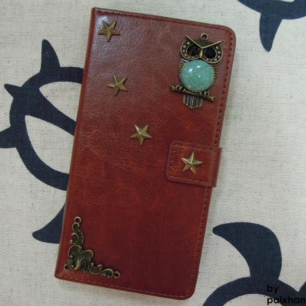HTC One M8 Wallet Case-OWL/Star/Plants studded Brown HTC One M8 Wallet Case